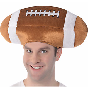 FOOTBALL SHAPED PLUSH HAT ~ Birthday Party Supplies Favor Sports Adult Orange