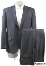 """Jos A Bank Signature Navy Striped 2 Button Wool Suit 42R Pleated 35"""" W"""