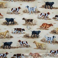 BonEful Fabric FQ Cotton Quilt Flannel VTG Puppy Dog Breed Scenic Hunt Lab*rador
