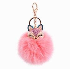 Pink Fur Ball PomPom Animal Fox Car Keychain Pendant Handbag Charm Pearl Keyring