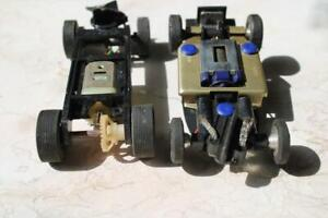 2-vintage 1/32 Scale Slot car unknown brand running Chassis w/ motors N/