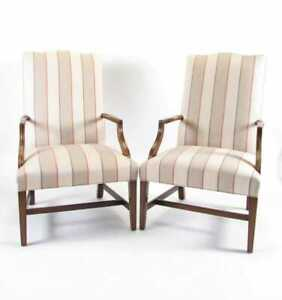 Southwood Chippendale Style Mahogany Pair Lolling Armchairs Grey Stripped Fabric