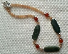 "19 1/2"" Red Aventurine, Carnelian and Jade necklace"