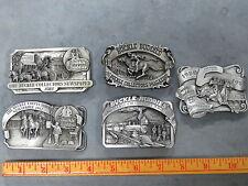 Vintage Buckle Buddies Belt Buckles LOT of 5 1982-1985 Pewter