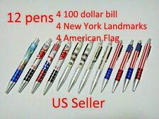 New listing 12X-Black Ballpoint pen $100 Bill New York Landmarks American Flag Us Seller