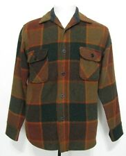 VTG Towncraft Wool Flannel Plaid Shirt Windowpane Brown Green Penney's 1960's A