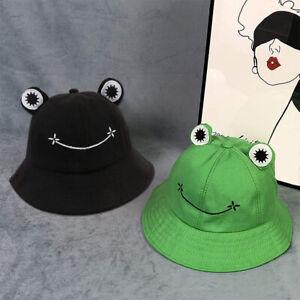 Adults Cotton Cartoon Frog Bucket Hat Fisherman Sun Cap Outdoor Foldable Women