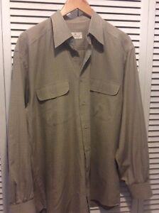 BISSE Men's Shirt Beige Plaid Long Sleeve Made in Turkey XL See Measurements