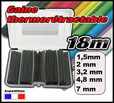 995N# assortiment de 18m gaine thermo 2/1 noir 1,6 - 2,4 - 3,2 - 4,8 - 7mm
