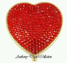 Gold Metal Red Heart Crystal Compact Make-up Mirror with Swarovski Crystals