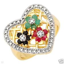 925 STERLING SILVER 14K GOLD PLATED RUBY,EMERALD, SAPPHIRE RING SIZE P