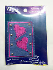Applique- Iron On - Pink Hearts w/ Silver Studs on Denim