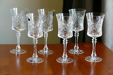 SWEDISH pattern, Wide Finest 24% Lead CRYSTAL wine glasses, Set of 6, Russia