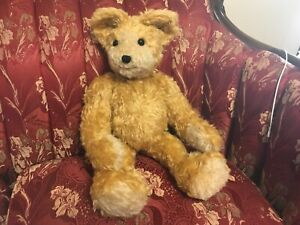 "Blonde MOHAIR Teddy Bear Antique Straw Stuffed 5 claws 20"" Jointed Long Arms"