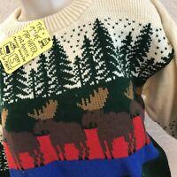 NEW Sweater Ski Chunky Small S Womens Pullover Oversized Moose Alaska Maine