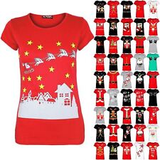 Ladies Merry Christmas Print T Shirts Womens Santa & Sleigh Star Cap Sleeve Top