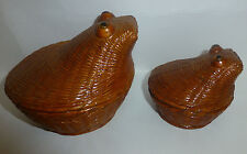Pair of Nesting Covered Weaved Lacquered Boxes Frog or Hippo Shape