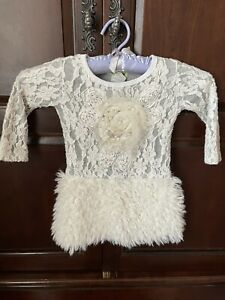 little mass faux fur skirt and embroidered dress size 24 months
