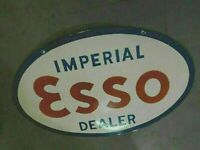 """Porcelain Esso Imperial Enamel sign 36"""" x 24"""" Inches Double Sided"""