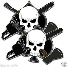 Loggers Crossbones 2 Decal stickers arborist forestry Chainsaw tree Axe skull 5""