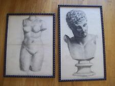 Two  French pencil  drawings 19th century