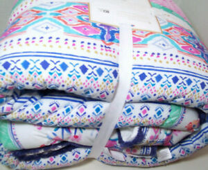 Pottery Barn Teen Multi Colorful Avery Paisley Fringe Trim Full Queen Quilt New