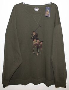 Polo Ralph Lauren Big Tall Mens Green Camouflage Polo Pony Sweater NWT $168 5XB