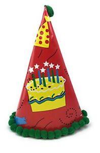 AEX 10 X Happy Birthday Red Pom Pom Paper Cone Party Hats Decoration