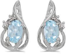 14k Oro Blanco Ovalado AGUAMARINA Y Diamante Pendientes largos
