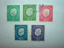 1959 WEST GERMANY PRESIDENT HEUSS FULL SET x 5 VFU (sg1219/23) CV £4
