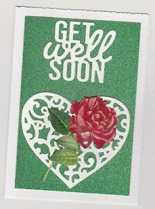 Blank Handmade Greeting Card ~ GET WELL SOON with HEART AND RED ROSE