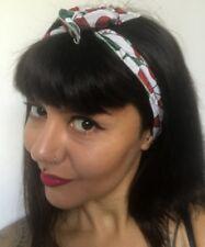 Bandeau foulard cheveux rigide cordon maléable blanc à cerises coiffure pinup
