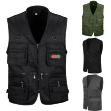 Men Multi Pocket Utility Cargo Waistcoat Fishing Outdoor Working Clothes Vest