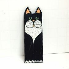 Hand Painted Black & White Cat Brooch Seated Kitty Wooden Pin Cat Lover Heart