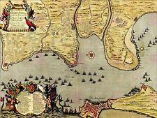 Mapas de batalla Guerra de Sucesión española CADIZ 1702 flota España Art Print MP5030A