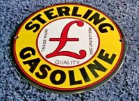 STERLING GASOLINE PORCELAIN HEAVY VINTAGE STYLE SERVICE STATION PUMP PLATE SIGN