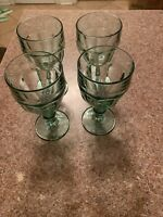 Set Of 4 Libbey Rock SharpeDuratuff Stem Footed Tinted Green Wine/goblet Glasses