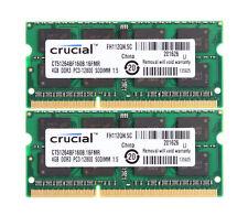8GB computadora portátil Crucial 4GB DDR3 1600 PC3-12800 204-Pin SODIMM Memoria RAM 2x 4G Kits