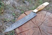 "12""hand FORGED DAMASCUS STEEL Chef KNIFE W/ Olive Wood & Brass Bolster Handle."