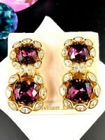 NWT CHRISTIAN DIOR GERMANY AMETHYST CRYSTAL MARQUISE RHINESTONE CLIP EARRINGS