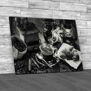 Rural Italian Breakfast Black White Canvas Print Large Picture Wall Art