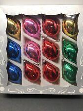 12 Vintage Kurt Adler Glass Ornaments Box Pink Blue Red Green Gold Teardrop
