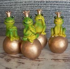 4er Set Froschkönig mit Krone auf Kugel Tischdeko 7cm Hochzeit Traumprinz Frosch