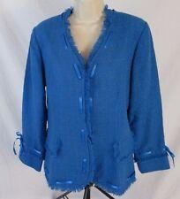 Maggie Sweet Womens S Blue Tweed Ribbon Fringe Lined Button Jacket Blazer CB16L