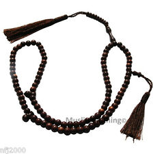 Small 6mm Tamarind Wood Muslim Islamic Prayer Beads Tasbih w/ Dark Brown Tassels