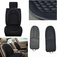 2 Pcs Car Seat Cushion Black Massage Therapy Lumbar Support Foam Cushions Cover