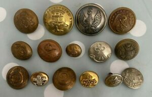 15x British Military Tunic Buttons Including WW2 Polish Officers Button