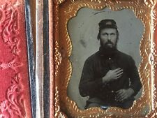 RARE CIVIL WAR MILITARY ARMY KEPI: Ninth Plate Seated Civil War Soldier Tintype