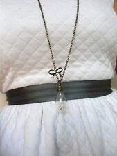 Collier sautoir cuivré ampoule aigrettes de pissenlit dandelion necklace noeud