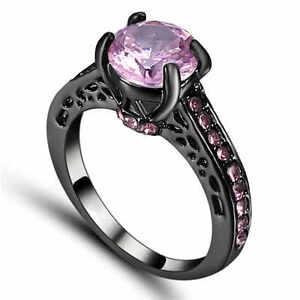 Princess Cut Woman's Size 9 Pink Sapphire black 10K Gold Filled Wedding Ring